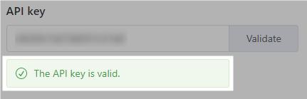 API key validated