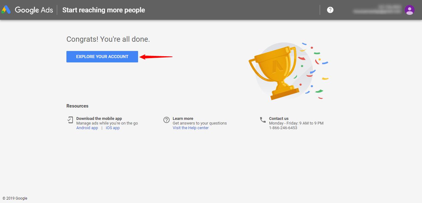 Google Keyword Planner account created