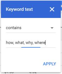 Keyword text