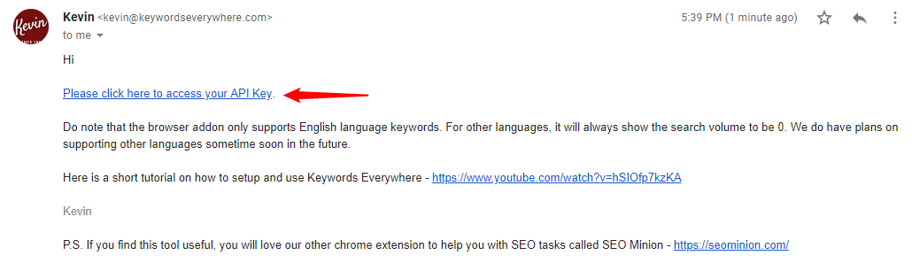 Keywords Everywhere confirmation email