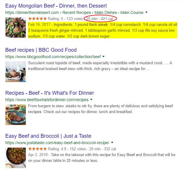 Rich Snippet Google Results