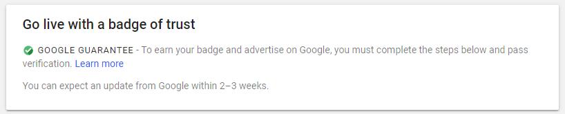 Google guaranteed badge of trust