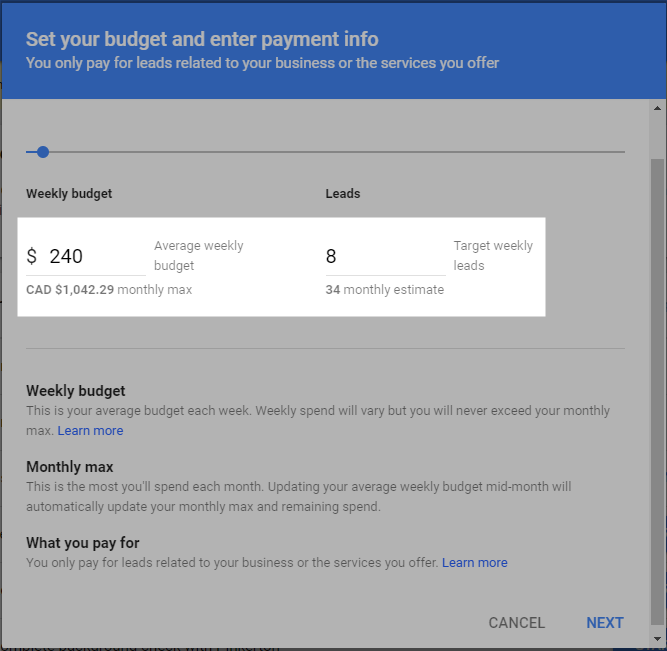 Budget and Payment Info