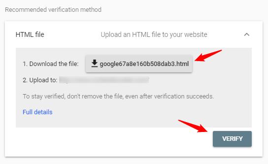 Google Search Console verification method